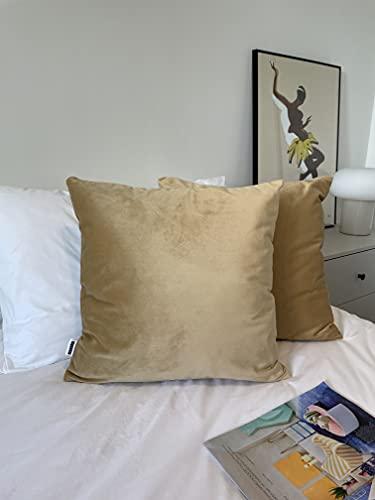 MARARDI Pack de 2 Fundas de Cojines de Terciopelo Suave [Color Camel] con [Cremallera Invisible] Decorativos Cama Sofá Silla Domitorio Cocina Jardín Sala de Estar Estudio y Oficina 45x45cm