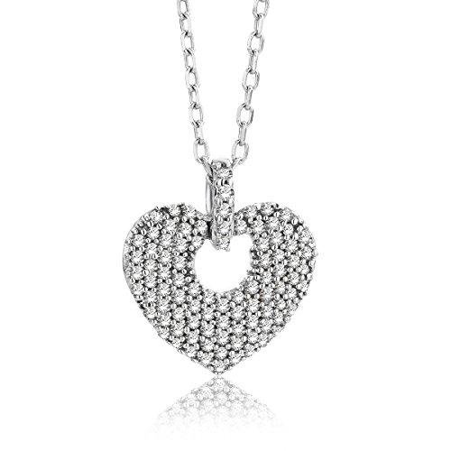 Miore - Collar para mujer de 0,20 quilates con colgante de corazón de 92 diamantes, cadena brillante de oro blanco de 9 quilates / 375