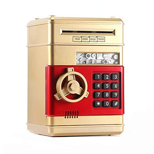 CAMPSLE Hucha de dinero electrónico, hucha con contraseña electrónica, mini cajero automático, dinero en efectivo, caja de dinero, tarro, ranura para dinero automática para niños (dorado)