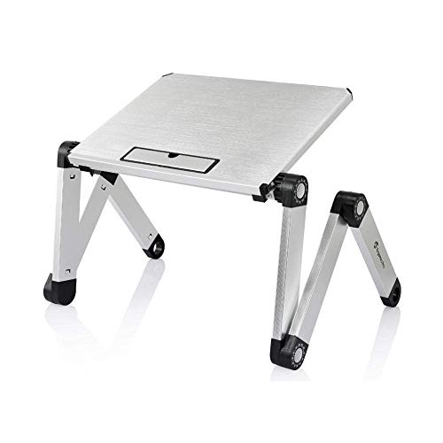 LYLSXY Tables,Laptop Table,Folding Desk Riser Computer Support Tray, Adjustable Laptop Stand Portable Table for Bed Tray Reading Bracket Foldable Standing Desk for Writing in Sofa,Sier