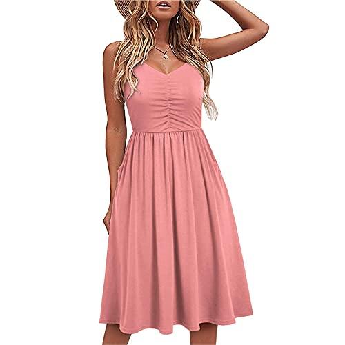 Jamicy Sexy Kleid Damen Tunika Kleid Damen Sommer spaghettiträger-Kleid Einfarbig V-Ausschnitt Plissiertes Kleid Elegant Casual Kleid Knielang Kleid Weiss Damen festliches Damen Kleid Hochzeit