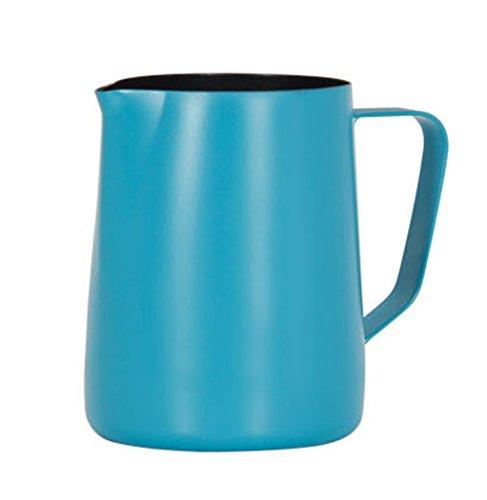 Hillento café espresso jarro de leche, leche en polvo de acero macchiato capuchino latte arte para preparar tazas de jarra de acero inoxidable 20 onzas/600 ml, azul