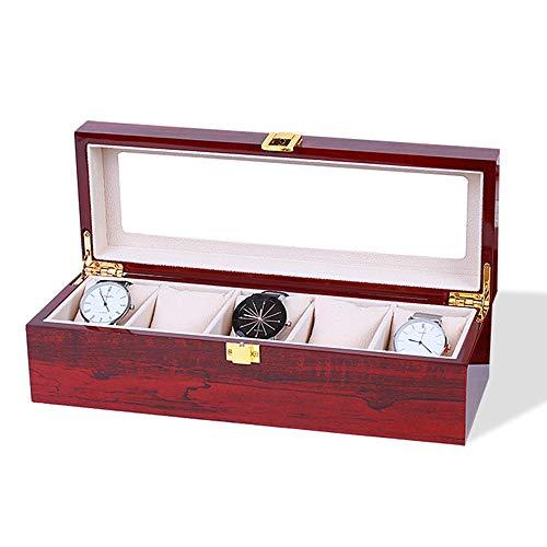 WHSS Watch Box Caja De Reloj De Madera 3 Rejilla Almohada Joyas Pulsera Caja De Almacenamiento De Viaje Ventana De Cristal Transparente Accesorios for Regalos Regalos for Hombres Y Mujeres