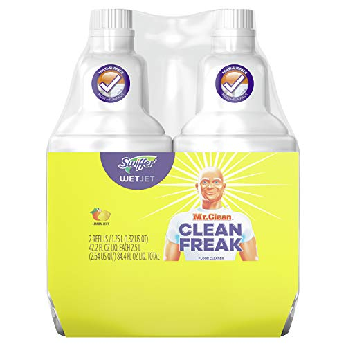 Swiffer Wetjet Hardwood Mopping Cleaning Solution Refills All Purpose Cleaning Product with The Power Mr. Clean 2Count 1.25 L Each, Lemon, 84.4 Fl Oz (Packaging May Vary)