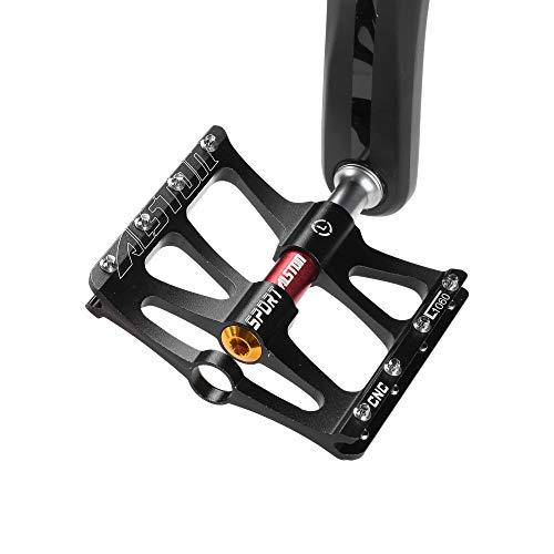 Alston - Pedales para Bicicleta de montaña, Ultra Fuertes, Coloridos, CR-Mo CNC mecanizado 9/16 con 3 Pedales de rodamiento sellados
