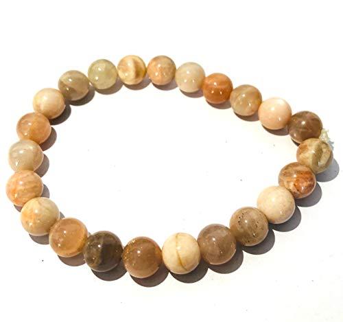 Beautiful potente piedra lunar redondo pulsera de perlas de Gemstone Fashion Wiccan joyas cristal curacin regalo bienestar Meditacin energa positiva xito prosperidad amor