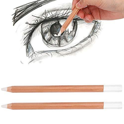 Haokaini 2 STKS witte schets schilderij wit potlood hoogtepunt pen wit houtskool houten potloden voor kunstenaar tekenen, schetsen, mengen