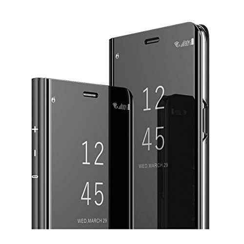 Samsung Galaxy Note 8 Hüllen,Handyhülle für Galaxy Note 8 Flip Clear View Standing Schutzhülle Mirror Case Flip PU Leder Handy Case Cover mit Standfunktion für Samsung Note 8. (Schwarz)