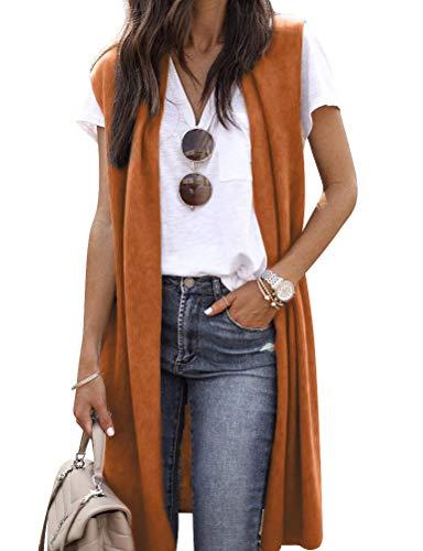 ZXZY Women Casual Sleeveless Open Front Tunic Vest Long Cardigan Tops Coat Orange