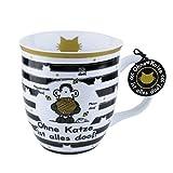 Sheepworld 45990 Tasse Ohne Katze ist alles doof, Porzellan, mit Geschenk-Anhänger