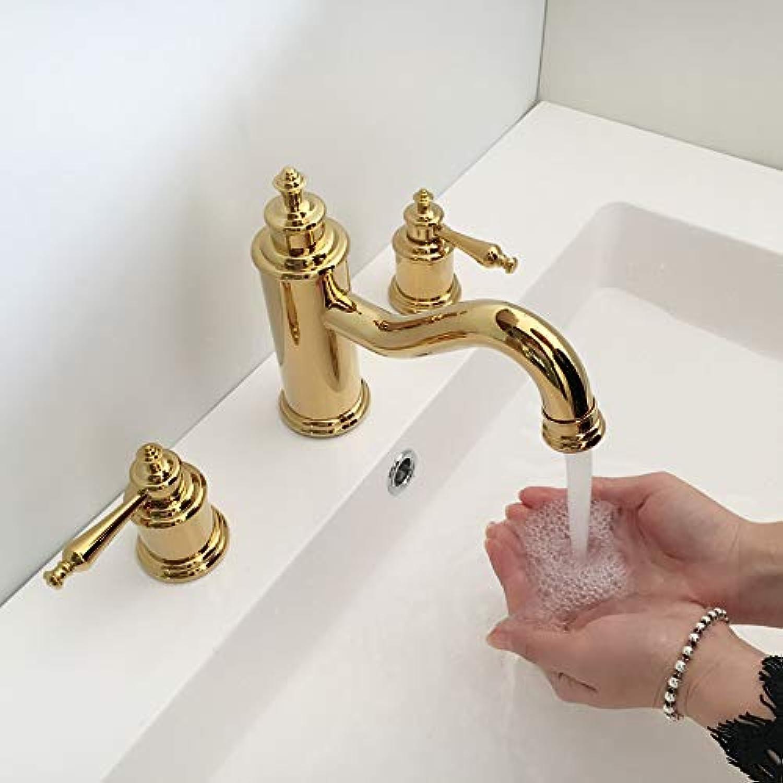 Wasserhahn, Messing, Antik-Optik, für warmes und kaltes Wasser, europisches Stil, 3 Lcher, für Waschbecken
