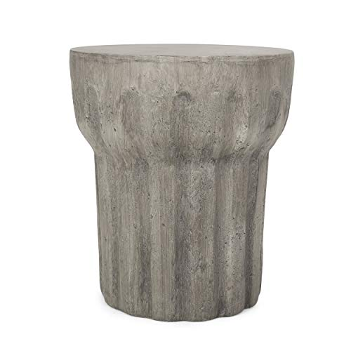 Christopher Knight Home 312773 Solomon Outdoor Contemporary Lightweight Accent Side Table, Concrete Finish