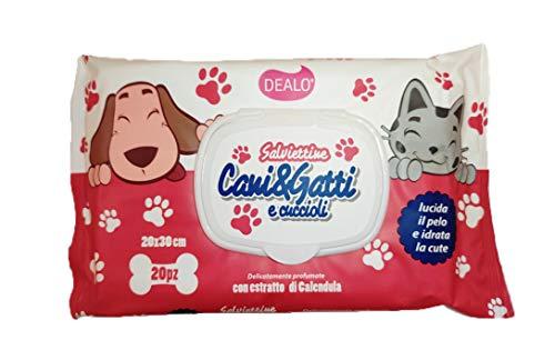 Dealo - Toallitas para perros y gatos con extracto de caléndula - 6 paquetes de 20 unidades