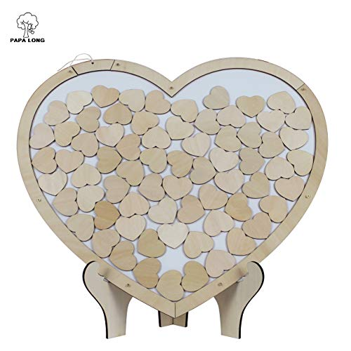 PAPA LONG Wooden Heart Frame Drop Top Alternative Wedding Guest Book Include 70pcs Wood Heart Decor in 1.6inch Width/ Wooden Wedding Guest Sign in Book