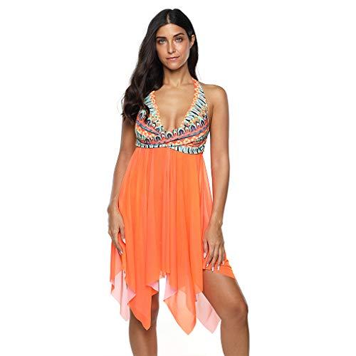 Fandecie Tankini Bikini duże rozmiary, damska sukienka kąpielowa, wiązana na szyi, kostium kąpielowy, kształtujący figurę, ze spódniczką, wyszczuplającą brzuch, jednoczęściowa sukienka kąpielowa z majtkami S M L XL XXL 3XL 4XL 5XL