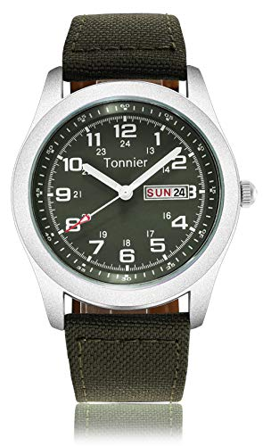 Tonnier Men's Weekender&Calendar Analog Green Canvas Strap Mans Watches (Production Of Swiss Watches And Related Products)