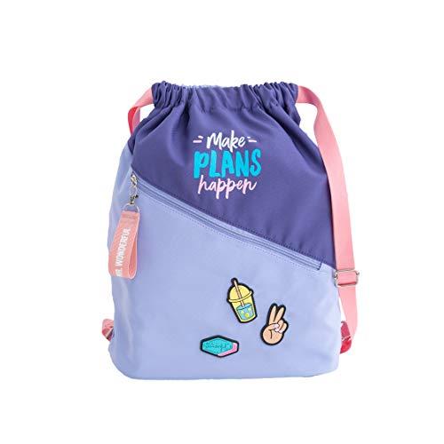 Mr. Wonderful Sack Bag-Make Plans Happen, Multicolor, Talla única