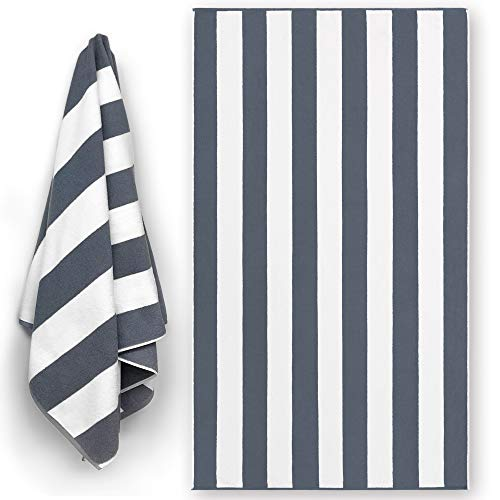 Luxury Large Beach Towel Extra Soft 40 x 72 inch Prime Yacht Classic Cabana Stripe Hotel Pool & Resort Style Double Terry Yarn Dyed 100% Cotton (Gray, 1)