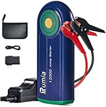 Rumia Jump Starter, Car Battery Jump Starter Pack 1000A 12000mAh for 6.0L Gas/4.0L Diesel, Portable 12V Auto Battery Jumper with USB QC3.0 Ports and Smart Jumper Cable