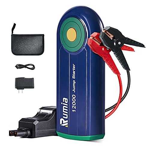 Rumia Starthilfe für Autobatterie, tragbar, 1000 A Spitzenleistung, Starthilfe-Batterie-Pack bis zu 6 l Gas 4 l Dieselmotor, Auto-Batterie-Booster, tragbares Netzteil für Autos, LKWs, SUVs