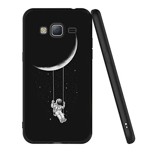 Yoedge Funda Samsung Galaxy J3 2016, Ultra Slim Cárcasa Silicona Negro con Dibujos Animados Diseño Patrón 360 Bumper Case Cover para Samsung Galaxy J3 2016, Astronauta