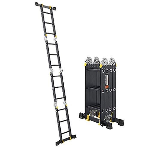 MHBGX Escalera Telescópica, la Escalera Del Hogar, Telescópica Escalera - 4 Mm de Espesor Escalera de Extensión de la Escalera Puede Ser Usado en el Estado de Semi-Extensión - Escalera de Aluminio Li