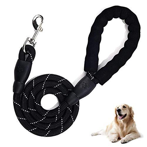 REYOK Premium Hundeleine - 5 FT Starke Hunde Trainingsleine mit Bequemen Gepolsterten Griff & Reflektierenden der Trainingsleine für Sicherheit Nachts, Eignet für Alle Größe Hunde(Schwarz)