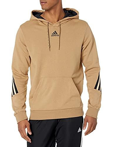 adidas Mens Sportswear 3-Stripes Tape Summer Hoodie Cardboard/Halo Amber XX-Large