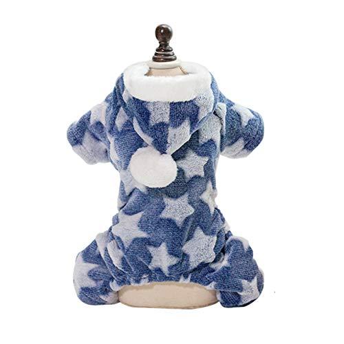 AMURAO Pijama de Invierno para Mascotas, Mono para Perros pequeños, Jerseys de Yorkshire, Ropa de Felpa Suave para Cachorros y Gatos