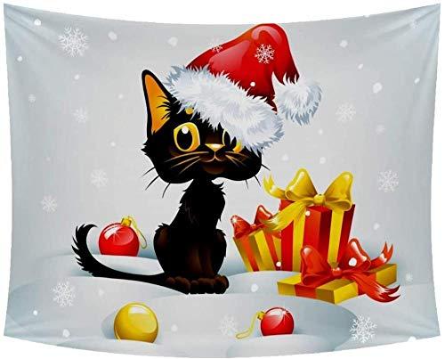Tapijtwerk,Kerstmuts Kat met geschenken Wandtapijten Muur Opknoping Home Decor Kunst voor woonkamer Slaapkamer -90x60_in