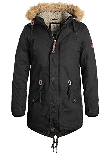 !Solid Clark Teddy Herren Winter Jacke Parka Mantel Lange Winterjacke gefüttert aus 100% Baumwolle mit Kunst-Fellkapuze, Größe:XL,...