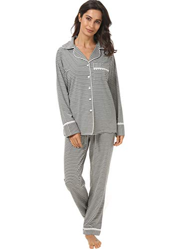 Espoir Womens Pajama Sets Button Down Long Sleeve Pj Pants Set Sleepwear