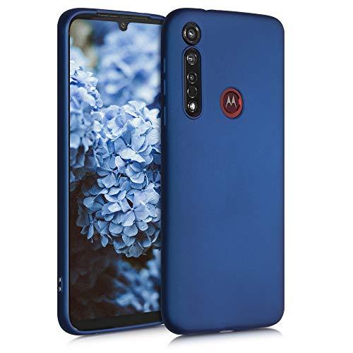 kwmobile Cover Compatibile con Motorola Moto G8 Plus - Protezione Back Case Silicone TPU effetto Metallizzato - Custodia Morbida blu metallizzato