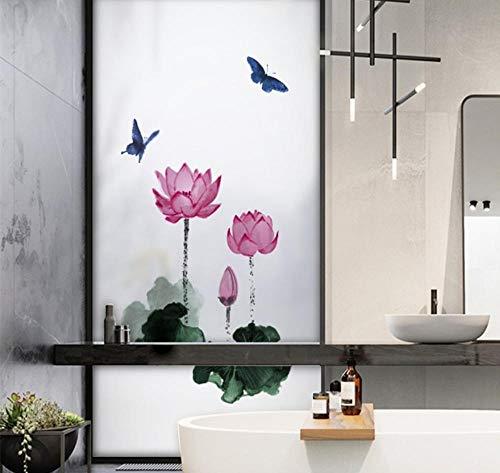 YUNZHIFU Waterdichte raamfolie tinten lilie decoratie thuis bevroren ondoorzichtig statische privacy balkon badkamer sticker glas sticker 60x45 cm