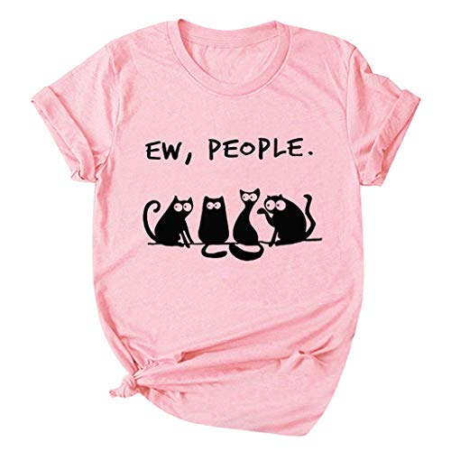 Dosoop Women EW People Short Sleeve Cute Cat Funny Print Graphic T Shirt Summer Crewneck Plus Size Tops Blouse Tunic Tees