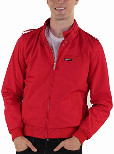 Members Only Men's Original Iconic Racer Jacket, Red, Medium
