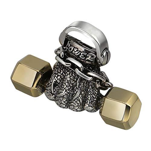 FORFOX Colgante mancuerna de Plata de Ley 925 Tono Dorado para Hombres Mujeres