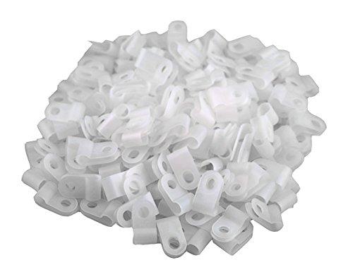 XINGYHENG200PCS 백색 나일론 R-TYPE 케이블 죔쇠로 잠그개에 대한 3 | 16 인치(4.8MM)직경 와이어 로프(플라스틱 와이어 코드립 복)
