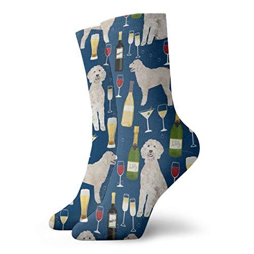 Calcetines de algodón para hombre, diseño de garabatos de vino, cerveza, azul marino