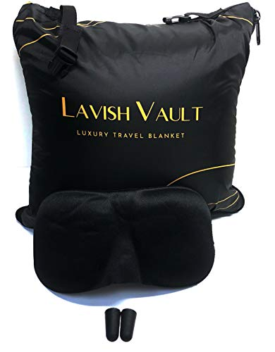 LavishVault Plush Fleece Airplane Travel Blanket Portable Airline Blanket, For Airplane, Car, Train Travel Soft & Comfortable – Compact and Easy to Carry Travel Accessories Black/Gold