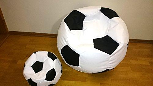 Artlicasaonline - Juego de 2 puf, puf, puf, puff, bean bagfootball, balón de fútbol 100 cm XXL + 40 cm reposapiés