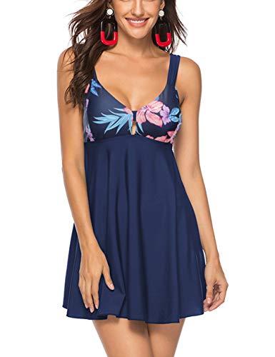FeelinGirl Mujer Traje de Baño Falda Elegante Estampado Conjuntos de 2 Piezas Tankinis Sexy Talla Grande Bañador con Braga Azul XL:Talla-44