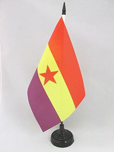 AZ FLAG Bandera de Mesa ESPAÑA Republicana Estrella ROJA 21x14cm - BANDERINA de DESPACHO DE LA Republica ESPAÑOLA 14 x 21 cm