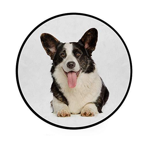 Orediy 92 cm runder Schaumstoff weiche Teppiche Welsh Corgi Cardigan Hund Leichte Kinder Kinderzimmer Spielteppich Boden Yoga Matte für Wohnzimmer Schlafzimmer