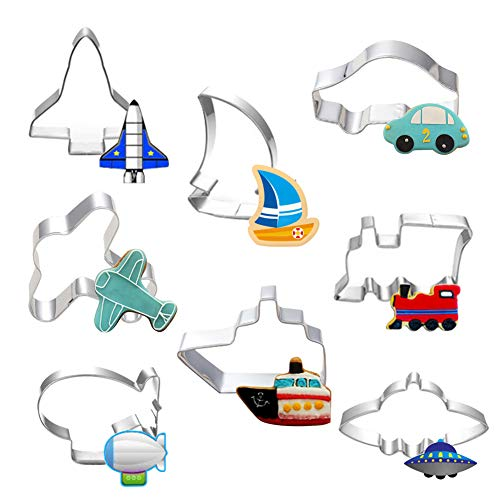 Hangnuo 8 Set Transportation Cookie Cutters Stainless Steel, Cute Cartoon Cutter Molds for Kids Birthday Decorating Biscuit Dough, Fondant, Fruit, Pizza