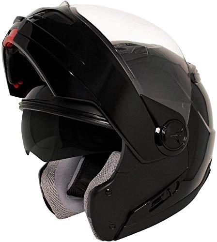 HAWK Helmets ST 1198 Glossy Black Modular Motorcycle Full Face Helmet for Men & Women with Dual Flip Up Sun Visor DOT Approved for Bike Scooter ATV UTV Chopper Skateboard (X-Large)