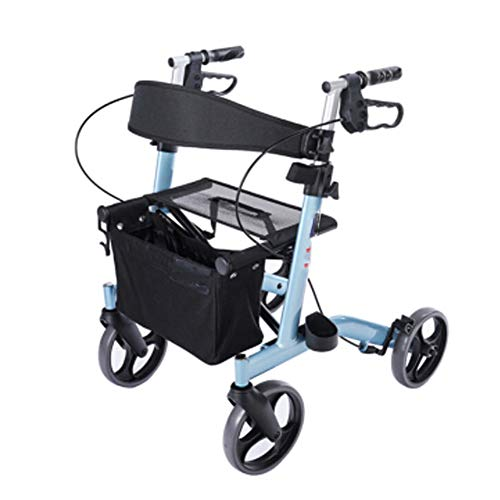 Antigüedad Walker plegable Roller ajustable mango, rehabilitación aluminio ligero plegable silla Travel Ferry Travel Portable