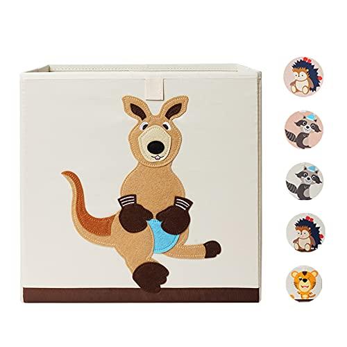 Caja de almacenamiento para niños I Caja de juguetes para habitación infantil (33 x 33 x 33 cm) para almacenamiento en estantería Kallax I Caja plegable de almacenamiento (canguro)