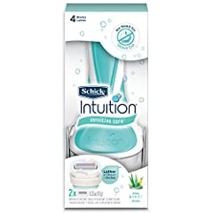 Schick(r) intuition(r) for women put shave cream right on the razor LATHERS and MOISTURIZES during shaving no need for soap, shave gel or body wash UNIQUE SKIN CONDITIONING SOLID enriched with Vitamin E and 100 Percent natural Aloe for moisturizing s...