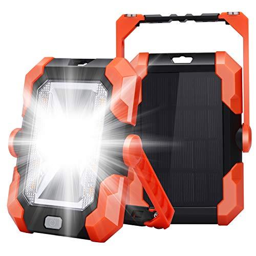 Leolee LED Baustrahler Akku, Superhell LED Arbeitsleuchte Campinglampe Solar USB Wiederaufladbares Batterie Powerbank Magnet Arbeitslicht Wasserdicht Tragbare SOS Fluter mit 4 Lichtmodi 360° Drehung